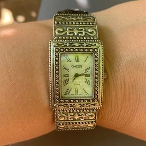 Chico's Black Leather Silver Tone Bracelet Watch Southwestern EUC Rectangle face